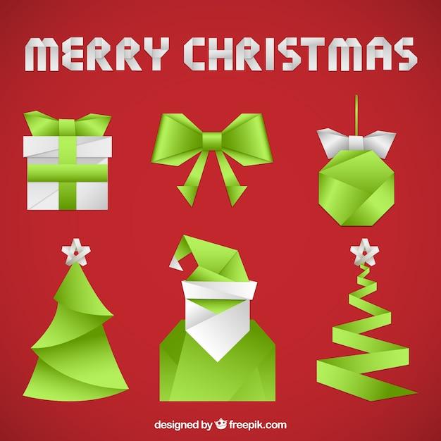 Origami kerstmis elements collection Gratis Vector