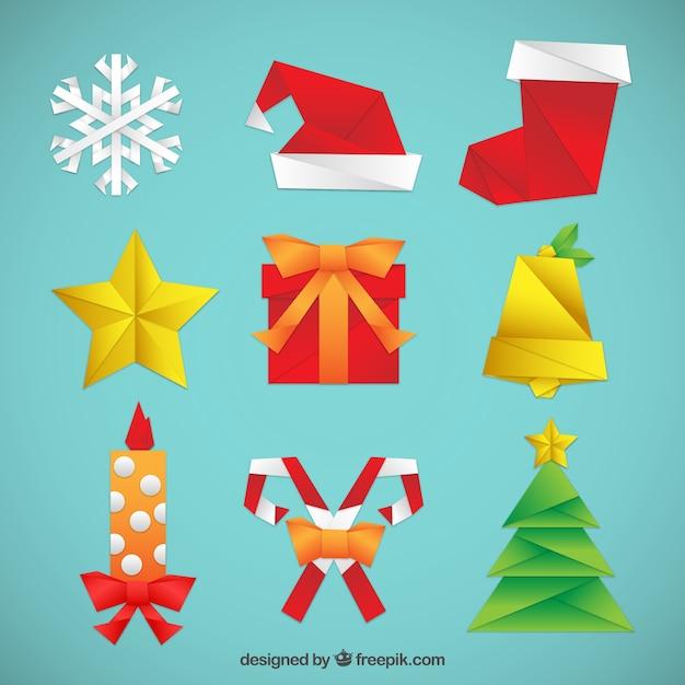 Origami kerstmis elements set Gratis Vector