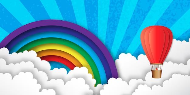 Origami kleurrijke heteluchtballonnen. regenboog, wolken. Premium Vector