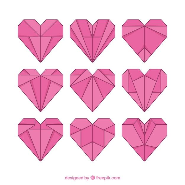 Origami lineaire harten Gratis Vector