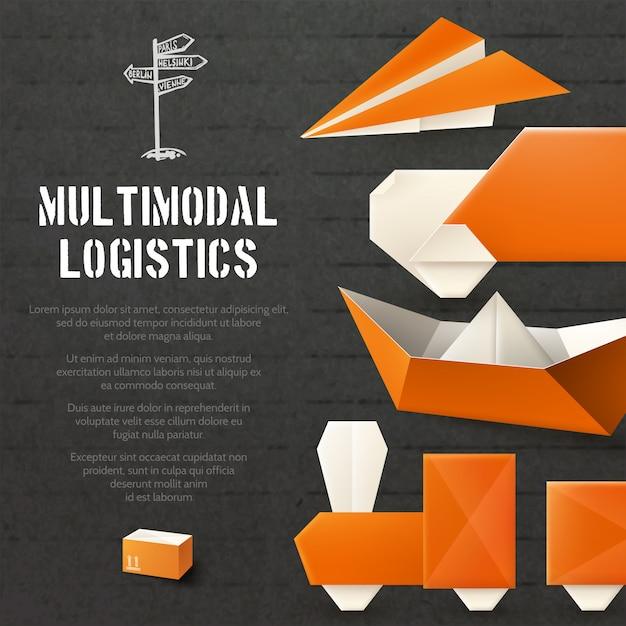 Origami logistieke achtergrond Gratis Vector