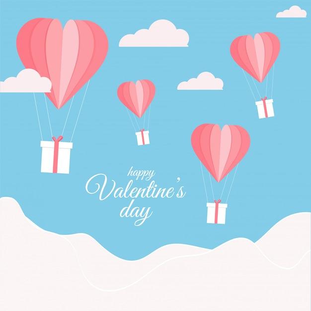 Origami papier hete lucht ballonnen met geschenkdozen en wolken op blauwe en witte achtergrond voor happy valentine's day celebration. Premium Vector