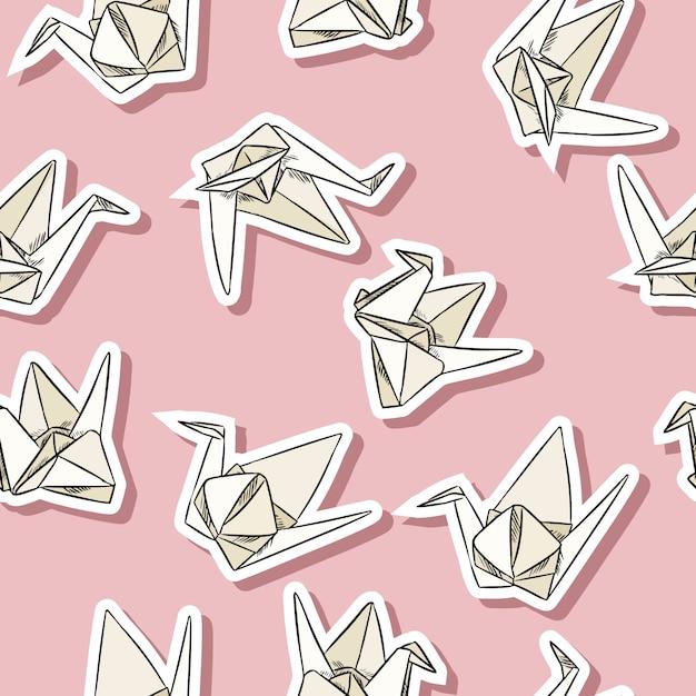 Origami papier zwaan hand getrokken labels naadloze patroon Premium Vector