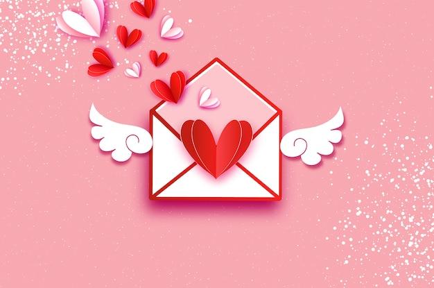 Origami rode, witte harten. valentines ansichtkaart met vleugels in papier gesneden stijl. Premium Vector