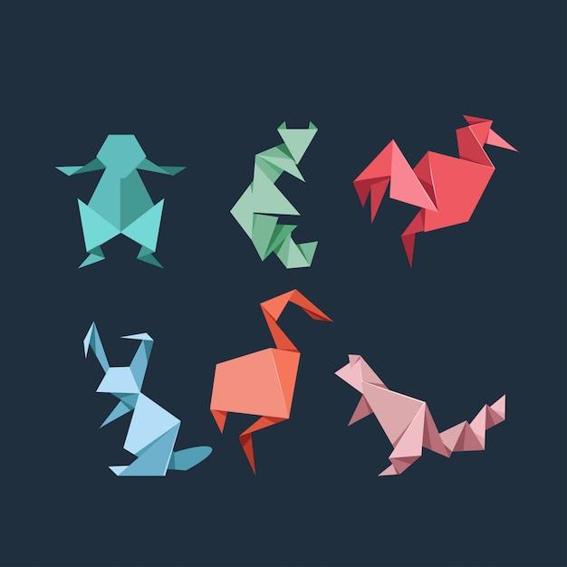 Origami set wilde en boerderijdieren Premium Vector