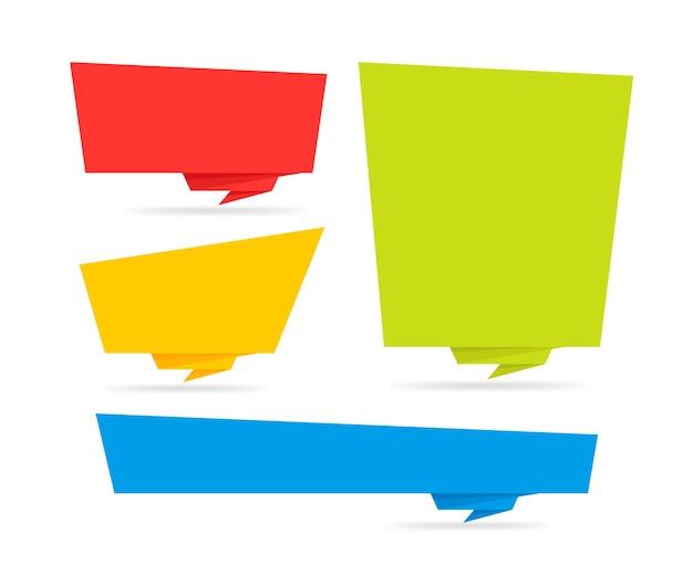 Origami-stijl sticker en banner tamplate. op witte achtergrond. blanco voor uw tekst, website en projecten Premium Vector