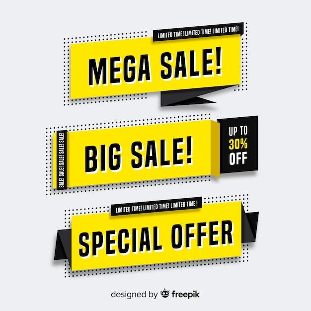Origami verkoop banner collectie Gratis Vector