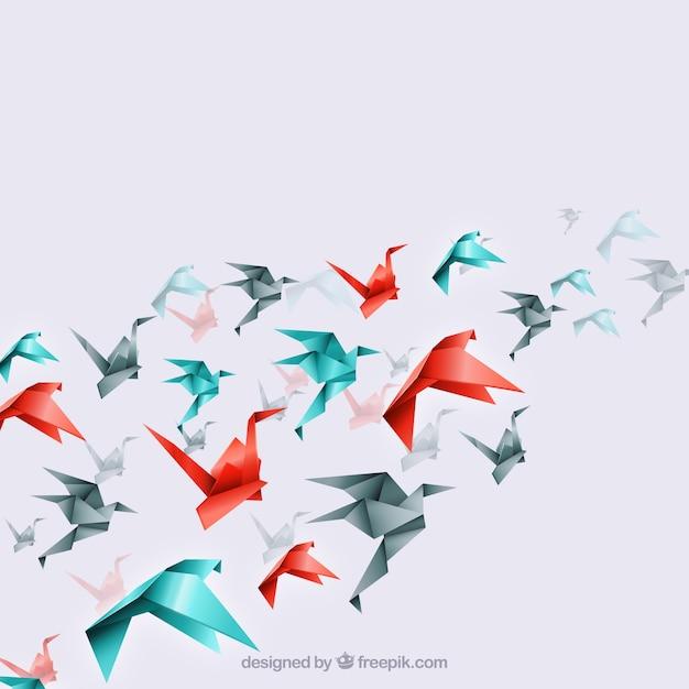 Origami vogels achtergrond Gratis Vector
