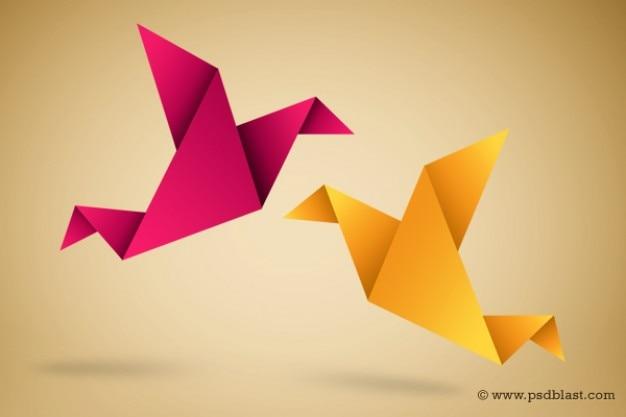 Origami Vogels Illustratie Met Papier Vouwen Vector Gratis Download