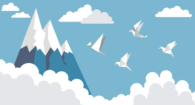 Origamidocument vogels, berg en wolk op blauwe hemel, vlakke stijl Premium Vector