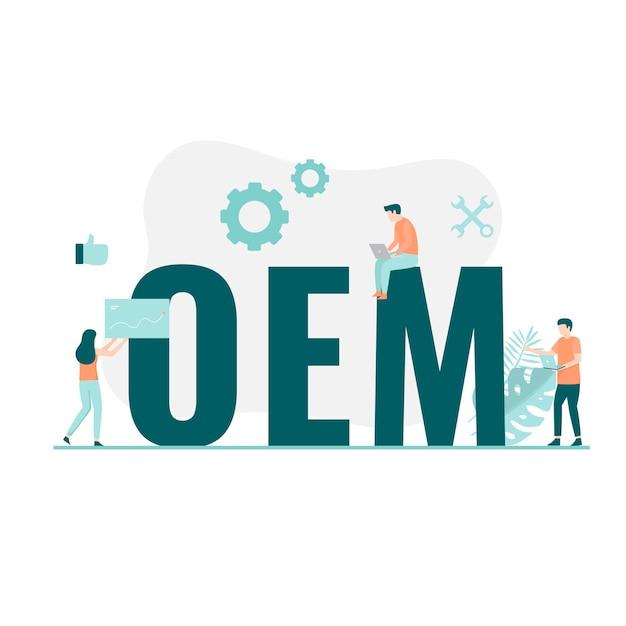 Original equipment manufacturer illustratie concept. illustratie voor websites, landingspagina's, mobiele applicaties, posters en banners. Premium Vector