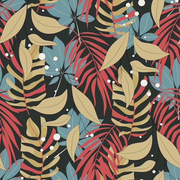 Origineel abstract naadloos patroon met kleurrijke tropische bladeren en planten op bruine achtergrond Premium Vector