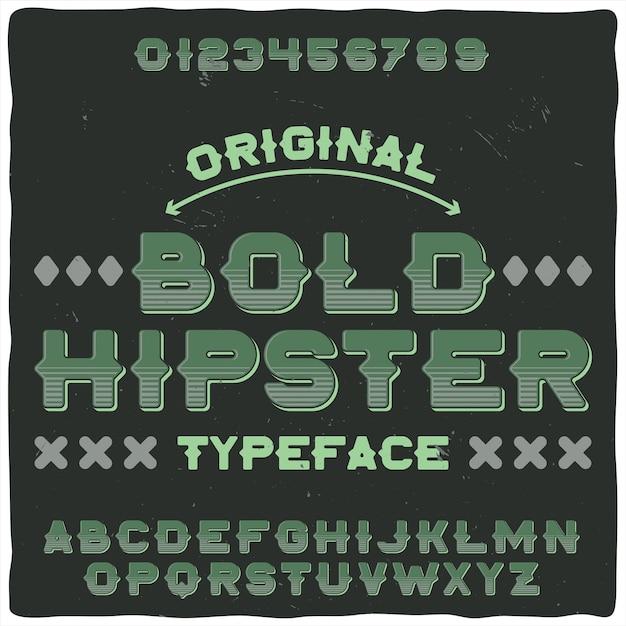 Origineel etiketlettertype met de naam 'bold hipster' Gratis Vector
