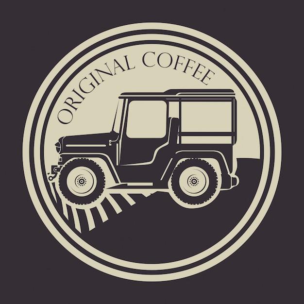 Origineel koffielabel met transport Gratis Vector