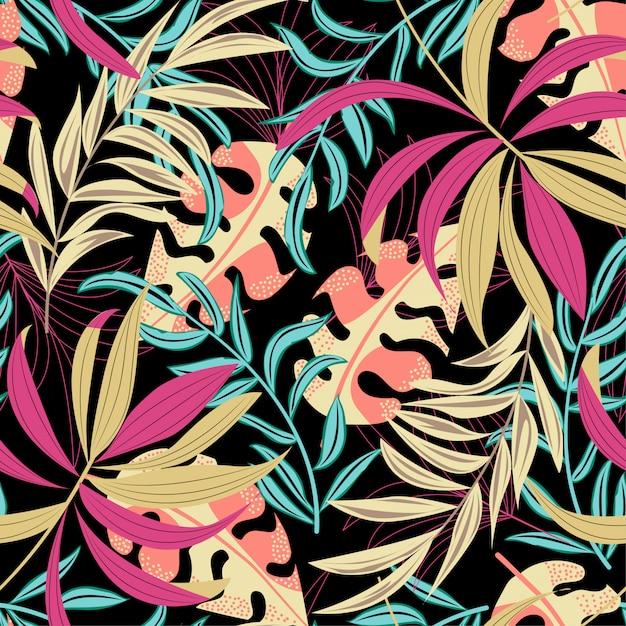 Origineel naadloos patroon met kleurrijke tropische bladeren en bloemen Premium Vector