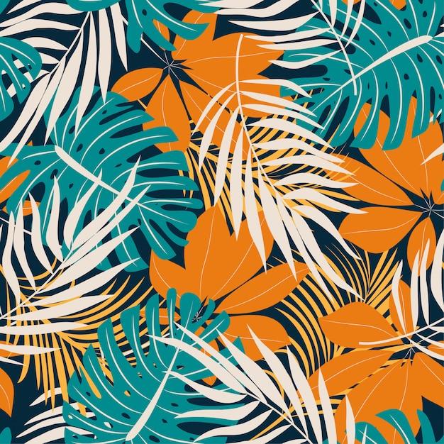 Origineel trend naadloos patroon met heldere tropische bladeren en planten Premium Vector