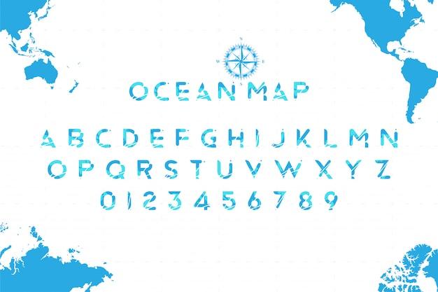 Origineel zee lettertype in de vorm van een wereldkaart met een retro kompas Premium Vector