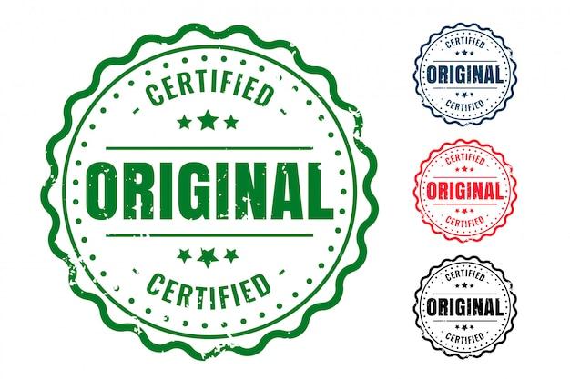 Originele en gecertificeerde rubberen zegelstempels van hoge kwaliteit Gratis Vector