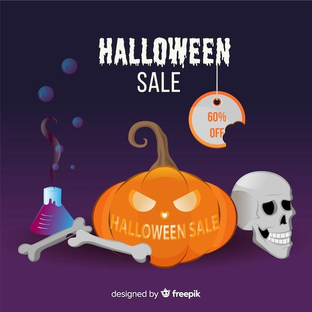 Originele halloween-verkoopsamenstelling met realistisch ontwerp Gratis Vector