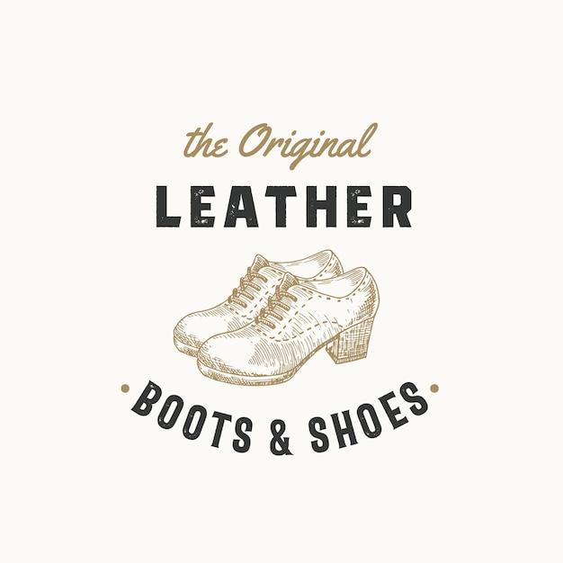 Originele lederen laarzen retro teken, symbool of logo sjabloon. vrouwenschoen illustratie en vintage typografie embleem. geïsoleerd. Premium Vector