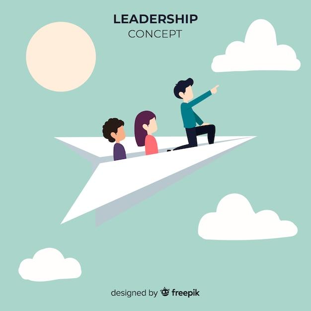 Originele leiderschapscompositie met papieren vlakken Gratis Vector