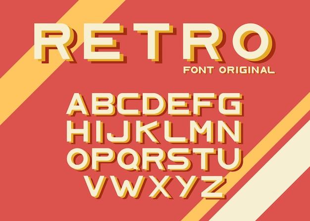 Originele retro lettertype sjabloon Gratis Vector