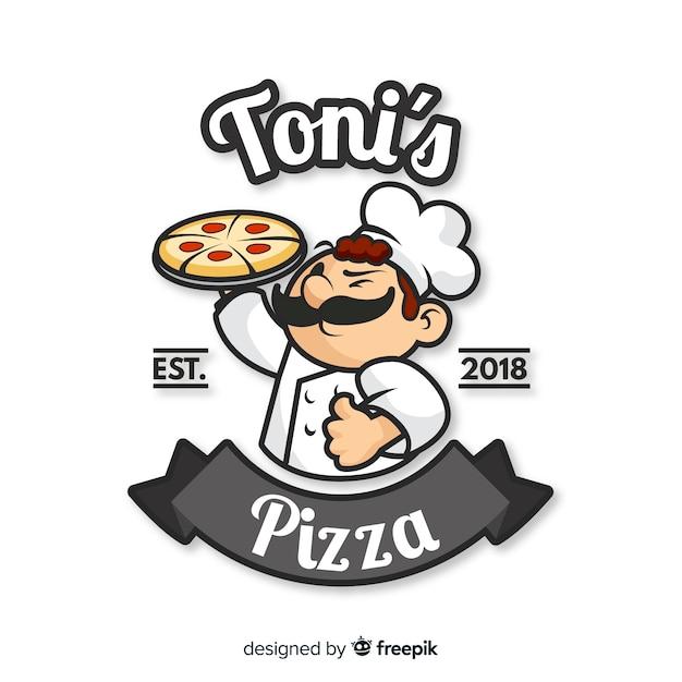 Originele samenstelling van het pizzarestaurant Gratis Vector