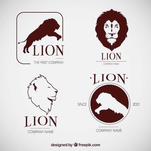 Originele set van leeuwenlogo's Gratis Vector