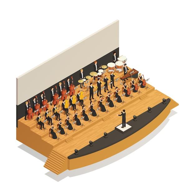 Orkest isometrische compositie Gratis Vector