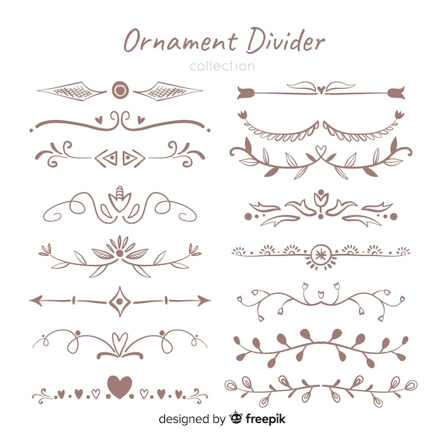 Ornament divider collectie Gratis Vector
