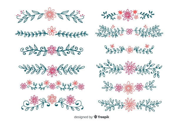 Ornament divider collectie Gratis Vector