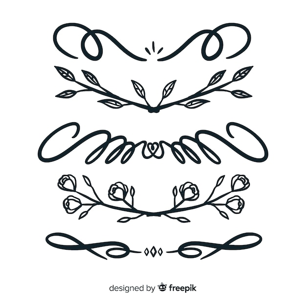 Ornament scheidingslijn collectie Gratis Vector
