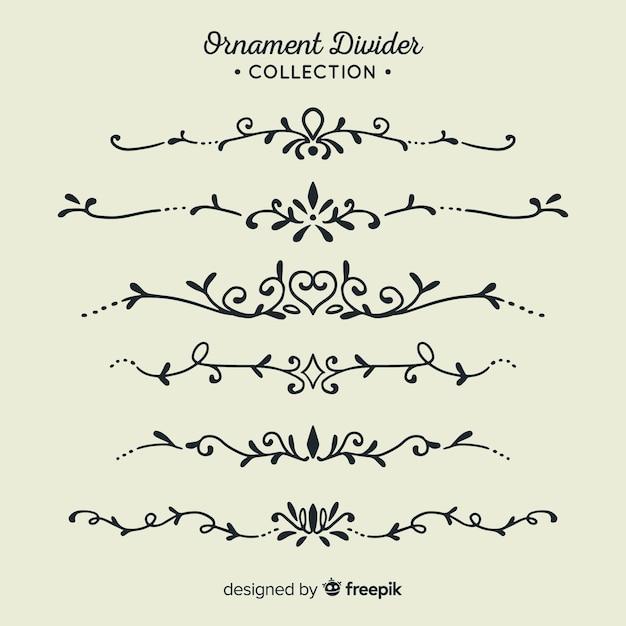 Ornament scheidingslijn collectie Gratis Vector