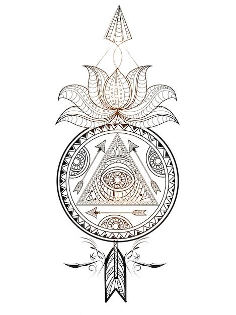 Ornamentale bloemen dream catcher met lotusbloem en pijl. creatief handgetekend etnisch decoratief element. Gratis Vector