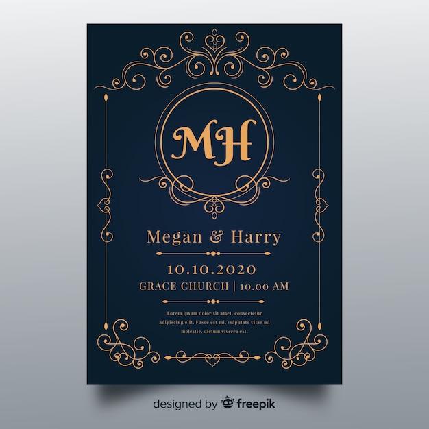 Ornamenten bruiloft uitnodiging sjabloon Gratis Vector
