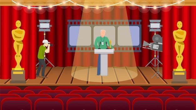 Oscar amerikaanse ceremonie die de zaalillustratie belonen van de herhalingsvoorbereiding. een man met badge staat op het podium in de schijnwerpers, de tweede neemt een foto op de camera. Premium Vector