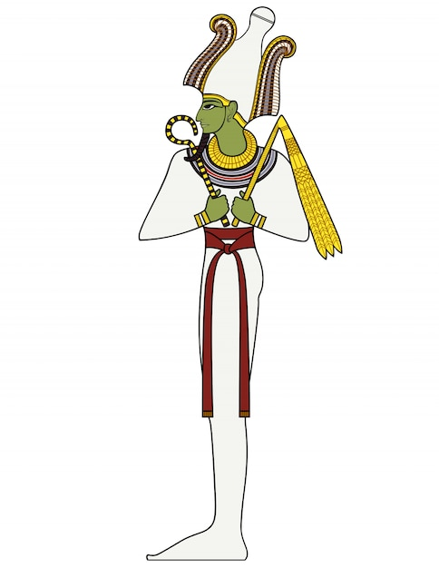 Osiris, egyptisch oud symbool, geïsoleerd cijfer van de oude goden van egypte Premium Vector