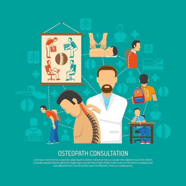 Osteopathie concept Gratis Vector