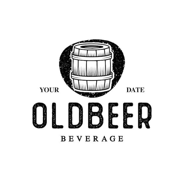 Oud biervat logo Premium Vector