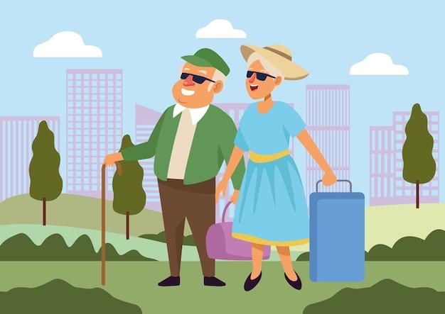 Oud echtpaar met koffers actieve seniorenkarakters. Premium Vector