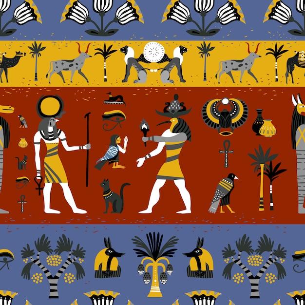 Oud egyptisch godsdienst naadloos patroon Gratis Vector