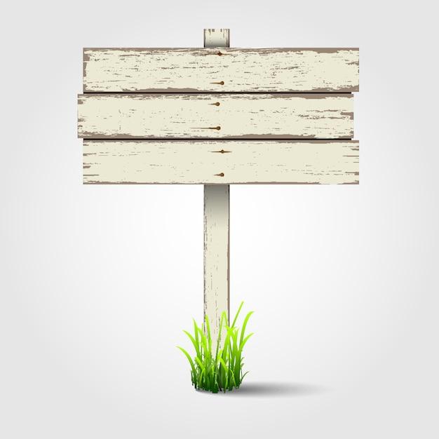 Oud houten uithangbord Premium Vector