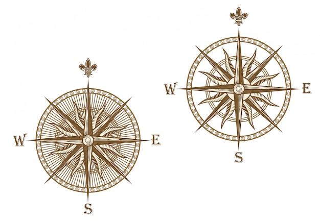 Oud kompas dat op witte achtergrond voor reisontwerp wordt geïsoleerd Premium Vector