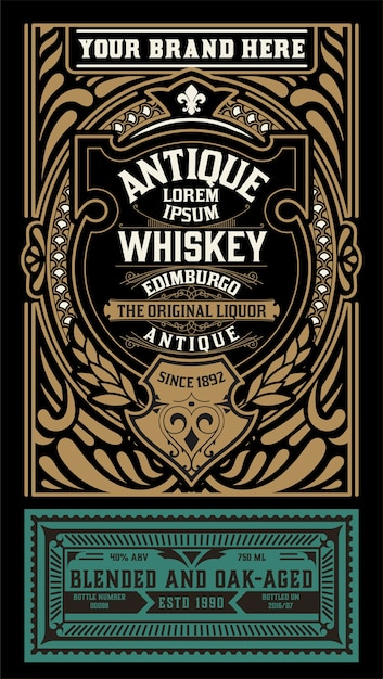 Oud labelontwerp voor whisky en wijnetiket Premium Vector