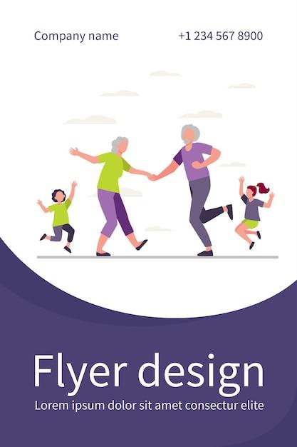 Oud stel en kinderen dansen op familiefeest. plezier hebben, grootouders, kleinkinderen platte flyer-sjabloon Gratis Vector