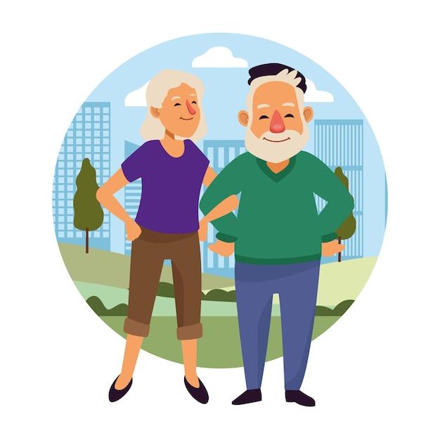 Oud stel op de actieve seniorenkarakters van de stad. Premium Vector