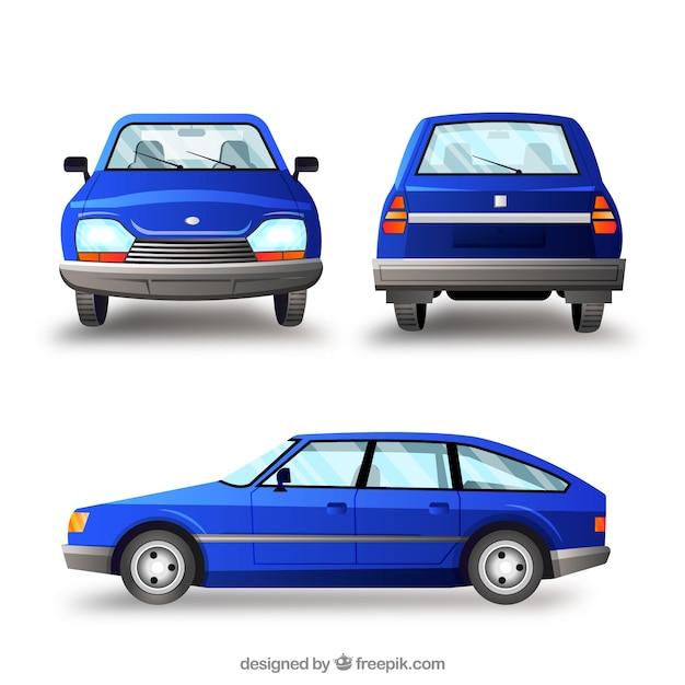 Oude blauwe auto in verschillende uitzichten Premium Vector
