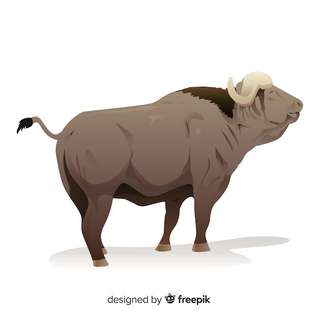 Oude buffalo cartoon afbeelding Gratis Vector