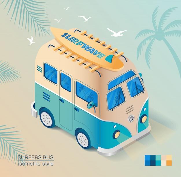 Oude bus op het strand met surfplank in isometrische stijl getekend. zomervakantie. Premium Vector