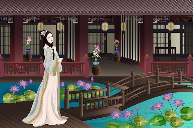 Oude chinese dame binnenshuis Premium Vector